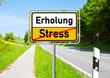 canvas print picture - Ortsschild - Erholung - Stress