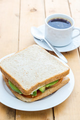 Avocado sandwich with black coffee