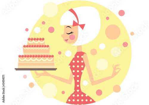 Girl holding big party cake
