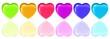 eine Reihe bunter Herzen