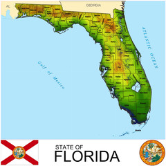 Florida USA counties name location map background