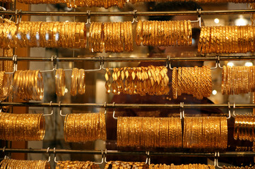 Gold jewelry for sale in the market, Deira, Dubai