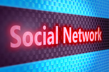 Social network digital screen, 3d render