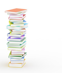 High stack of books on white