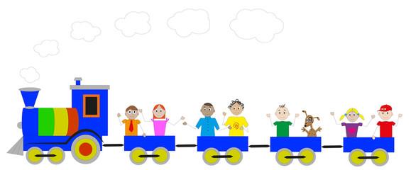 locomotiva colorata con bambini felici