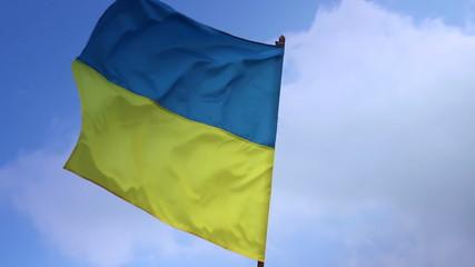 Flag of Ukraine on flagstaff. Ukrainian national flag.