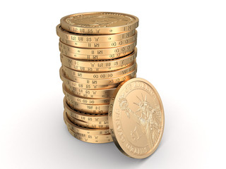 Singl stack of coins with coin reverse