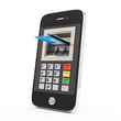 Credit Card and Smart Phone on white background