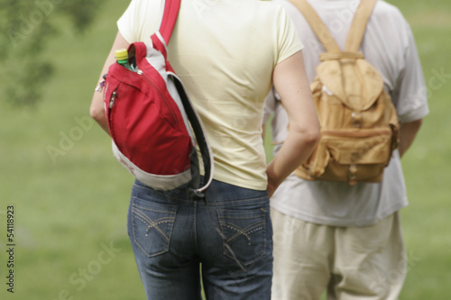 Two tourists with a backpack