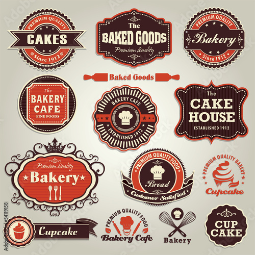 Vintage set of cupcake bakery label frame set