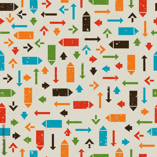 Seamless retro pattern with pointers, arrows
