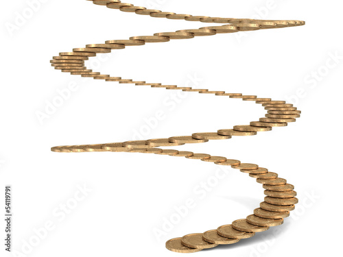 Stairs of gold coins