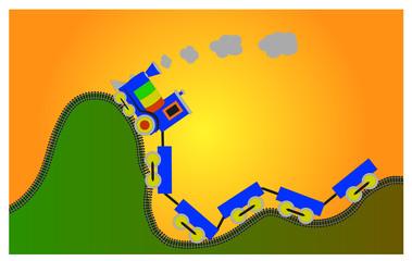 locomotiva colorata si arrampica sulle colline