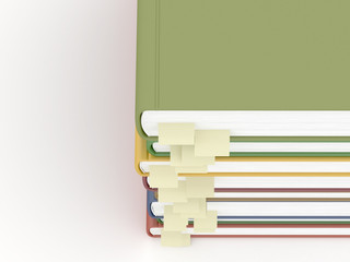Top view to a stack of books