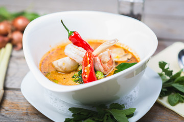 spicy Thai Tom Yam soup