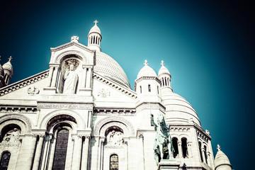 Sacre Coeur Basilica, close up at a summer day. Paris
