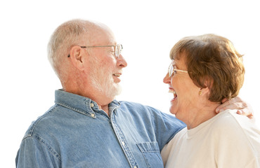 Adoring Senior Couple Laughing Together - on White