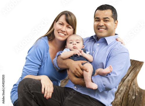 Mixed Race Young Family with a Baby - on White