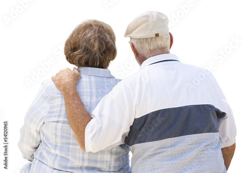 Happy Senior Couple Embrace - on White
