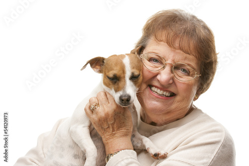 Happy Senior Woman with Puppy.