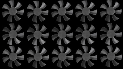 Fan turbine behind a dark surface. Animation. Loop.