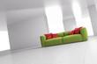 Green sofa in bright room angular