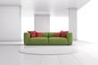 Green sofa in bright room closeup