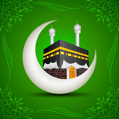 vector illustration of Eid Mubarak (Blessing fo Eid) with Kaaba