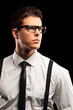 Fashionable young man with tie posing