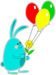 Cute rabbit with colorful balloons