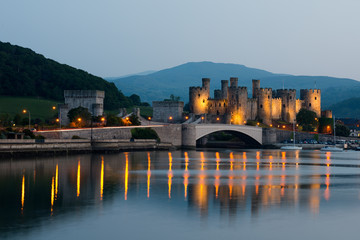 Conwy town and castle at night , North Wales