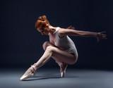 Fototapety Graceful slender ballerina dancing in studio