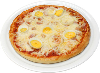 Pizza Koriola with cheese bacon egg and ham isolated