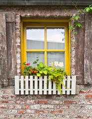 Traditional vintage window with flowers, Belgium
