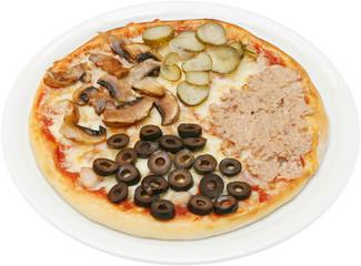 Pizza quattro stagioni with cheese tuna mushrooms