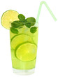 Cocktail mojito with lime and ice cubes