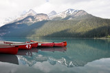 Canoes on beautiful turquoise lake (Canada)