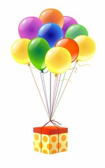 Подарок и разноцветные воздушные шарики