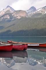 Canoes on beautiful turquoise lake (Canada)