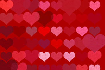 romantic hearts on red background illustration