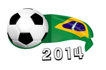 Brasilienfahne mit Fussball_2014 - 3D