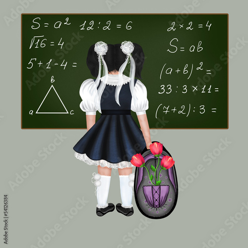 Little black-haired schoolgirl