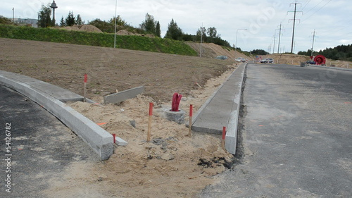 road construction business site car roundabout electricity wire