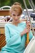 Beautiful woman sailing, young adult lady enjoying summer travel