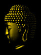 profile view of buddhas head in gold