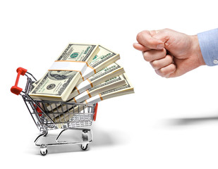 businessman's fig & steel grocery cart full of money stacks