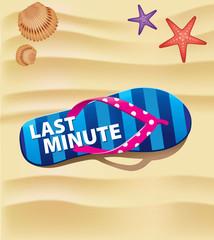 beach flip with text last minute on sand