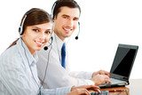 Attractive young people working in a call center