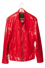 Male bright red dude jacket over coat hanger