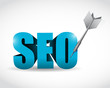 3d text seo concept target illustration design